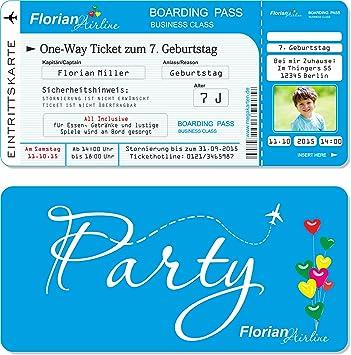 Einladungskarten Kindergeburtstag als Flugticket mit Abriss-Coupon ...