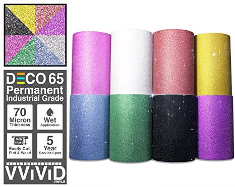 VViViD Glitter Black DECO65 Permanent Adhesive Craft Vinyl Roll for Cricut Silh
