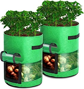 Rouffiel Potato Grow Bags Upgrade, 2 Pack 10 Gallon Plant Grow Bag with Flap & Handles, Breathable Non-Woven Fabric Planter Pots Planting Fruit, Vegetable, Flower for Indoor & Outdoor