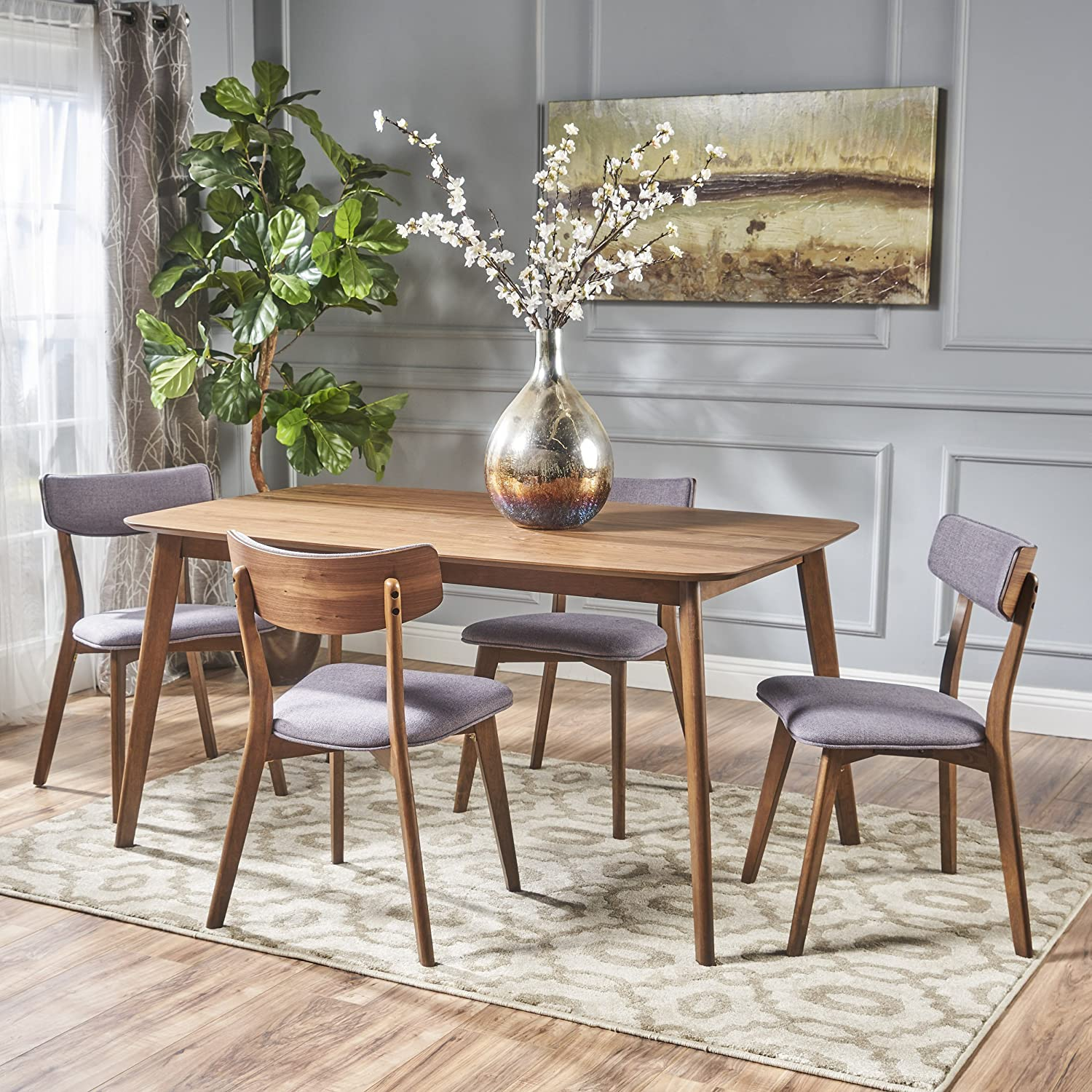Aman Mid Century Natural Walnut Finished 5 Piece Wood Dining Set with Dark Grey Fabric Chairs