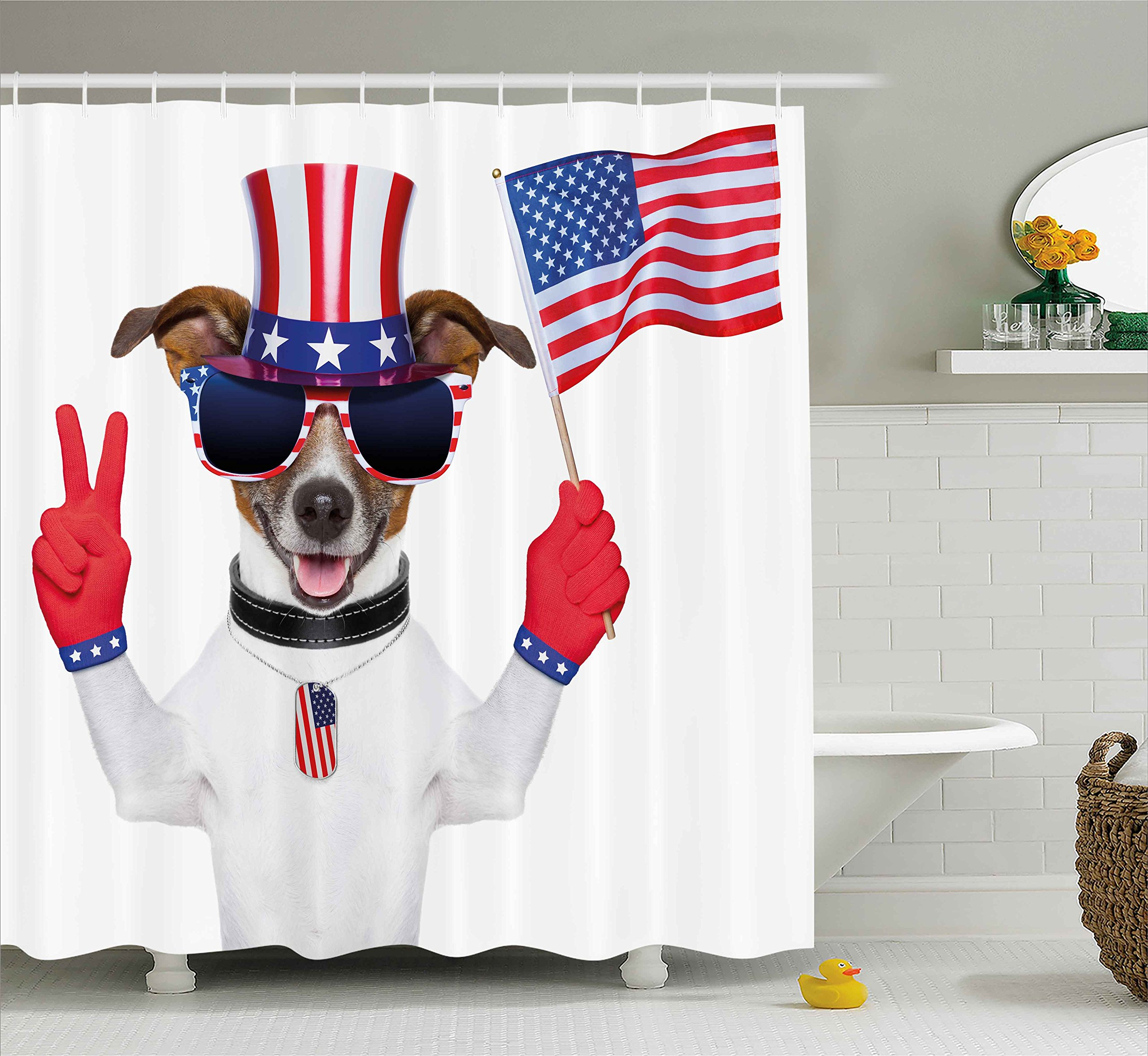 Ambesonne 4th of July Shower Curtain, Funny Pet Dog with an Uncle Sam Hat Holding a Peace Sign and an American Flag, Fabric Bathroom Decor Set with Hooks, 70 inches, Multicolor