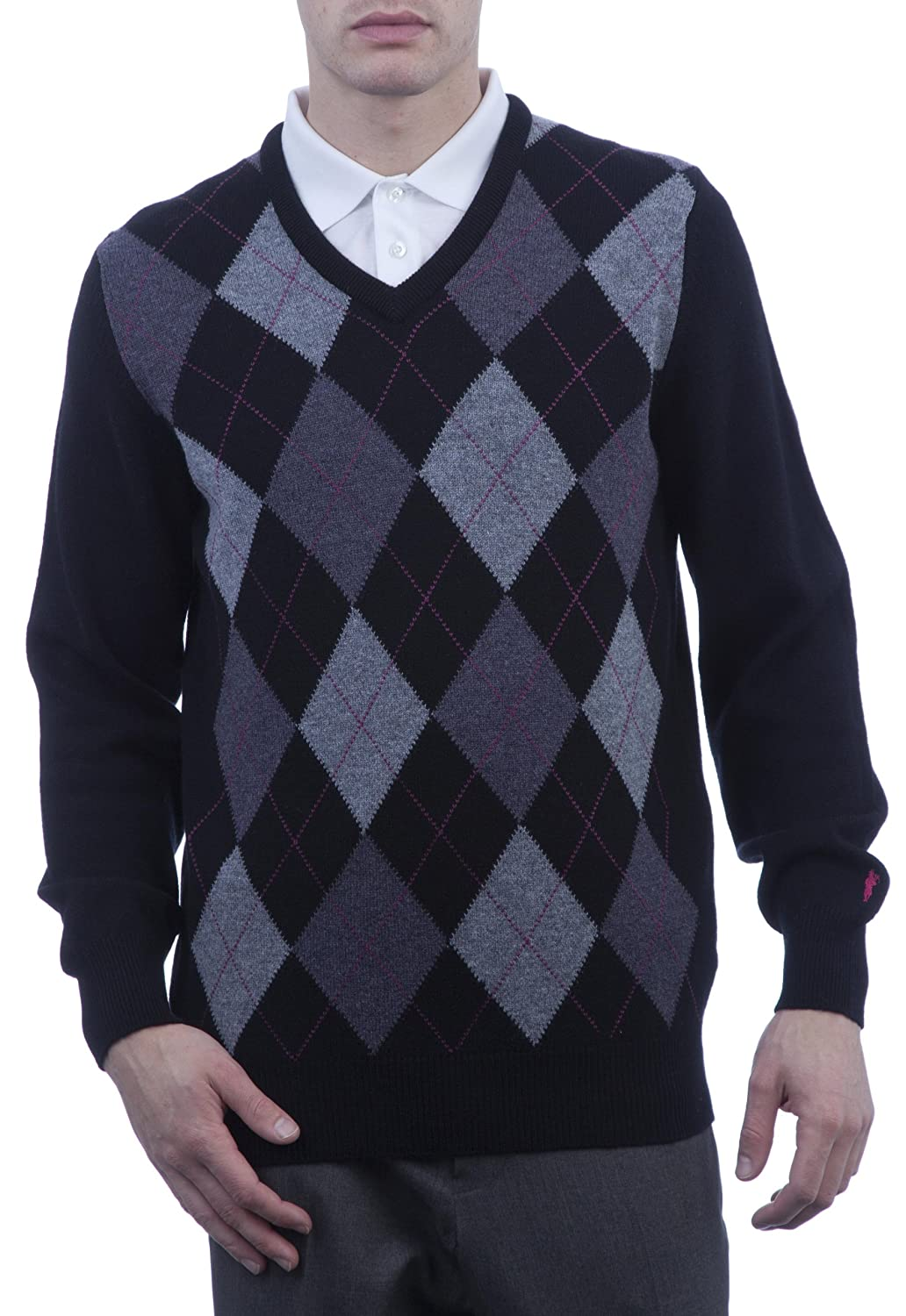 Great and British Knitwear Men's 100% Lambswool Argyle V Neck Jumper. Made In Scotland