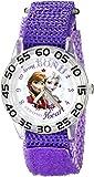 Disney Kids' W002443 Frozen Elsa & Anna Time Teacher Watch with Purple Band