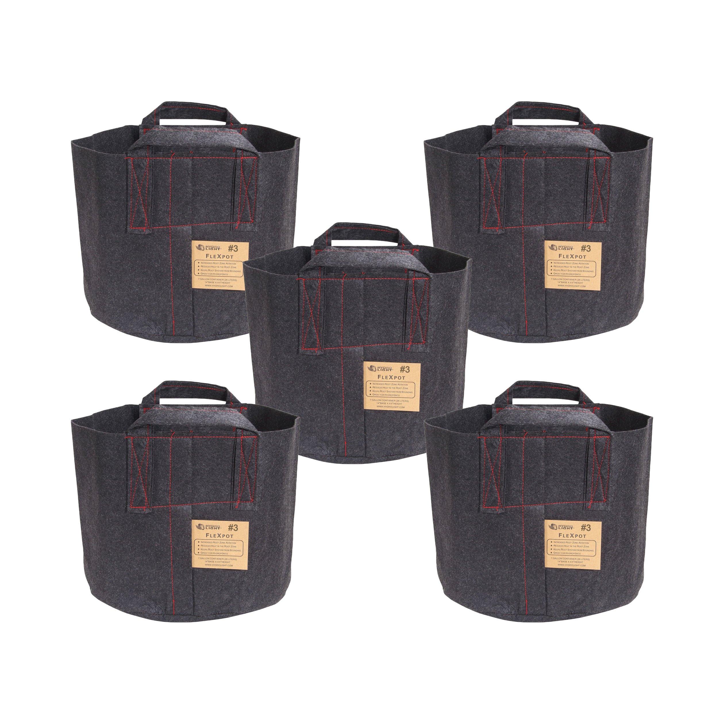 HydroLight Flex Pot, Fabric Grow Pots Smart Gro Sacks Breathable Pots Planters (5, 3 Gallon Pot)