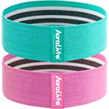 Aoralivre Fabric Resistance Bands Stretch Workout Exercise Bands Beginner Green, Pink