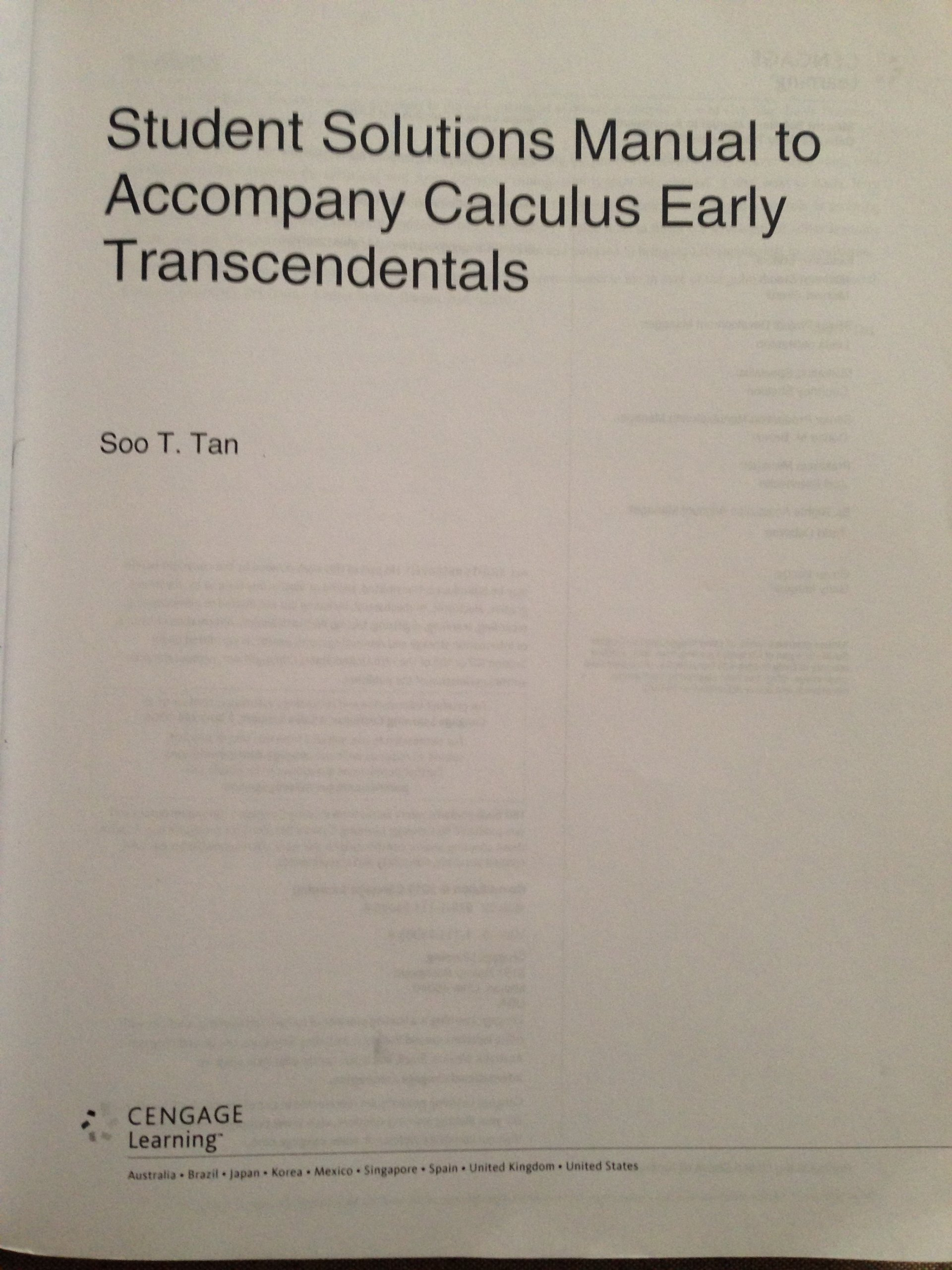 Student Solutions Manual to Accompany Calculus: Early Transcendentals: Soo  T. Tan: 9781111740658: Amazon.com: Books