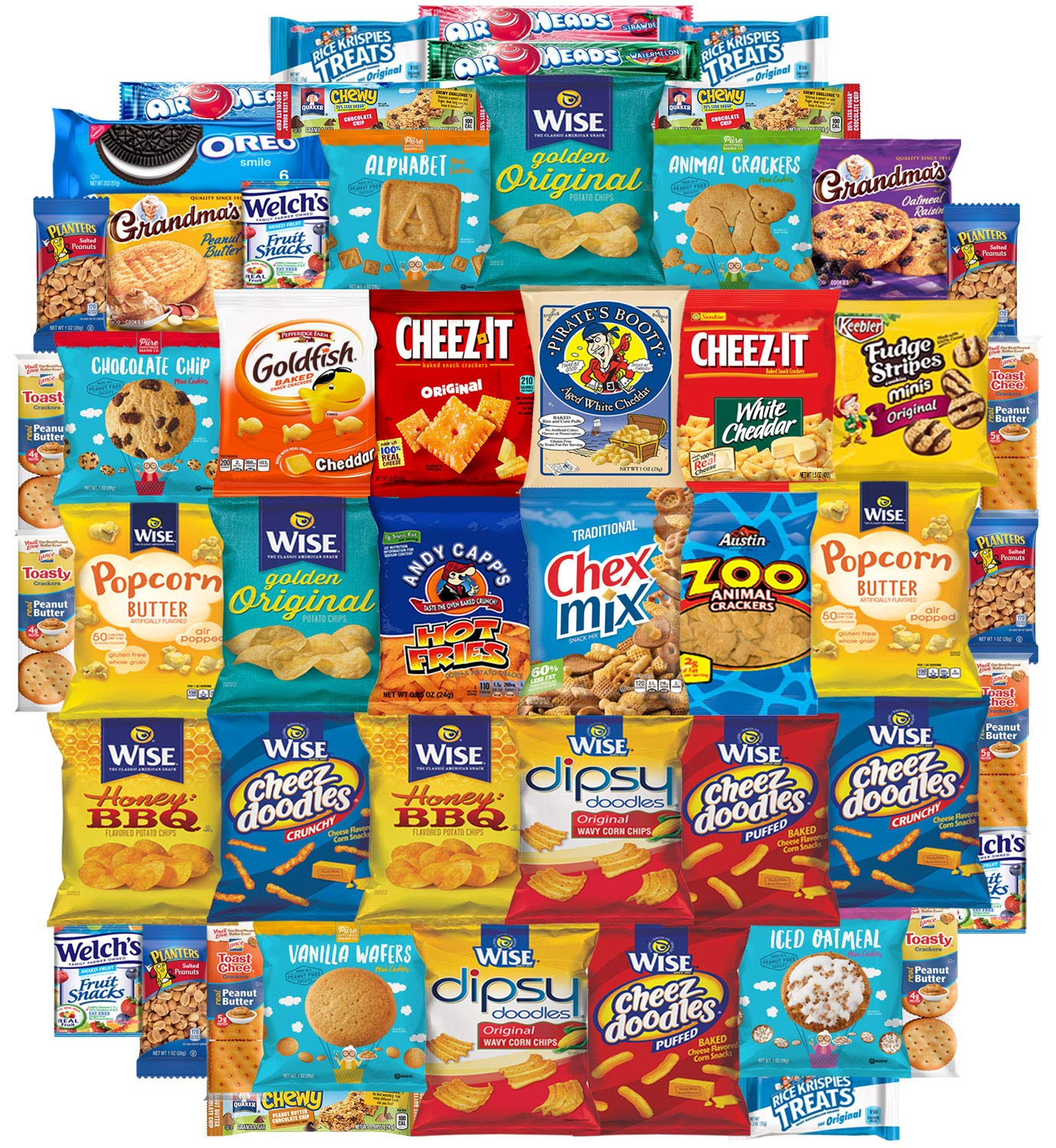 Variety Fun Care Package (50 Count) - Ultimate Snacks Sampler - Bulk Cookies, Chips, Crackers, Candy, Mixed Bars Variety Pack - Friends & Family, Military, College Food Box by Custom Varietea (Image #1)
