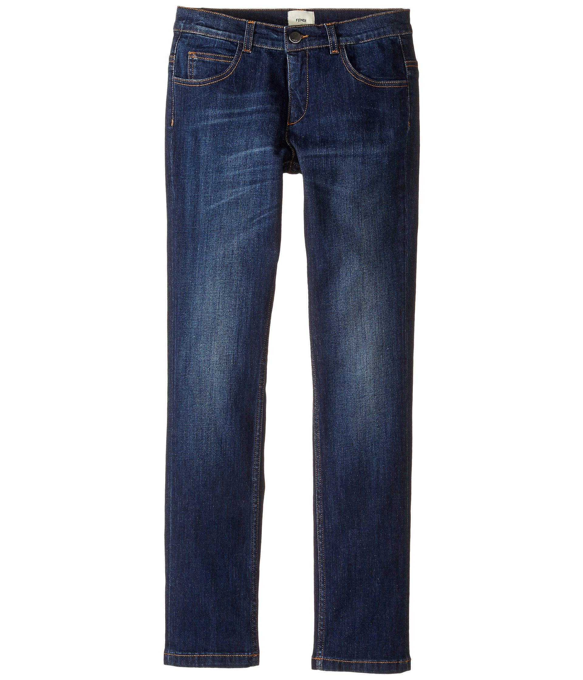 Fendi Kids Boys' Denim Pants With Monster Logo Back Pocket (Big Kids), Blue Denim, 12 Years X One Size