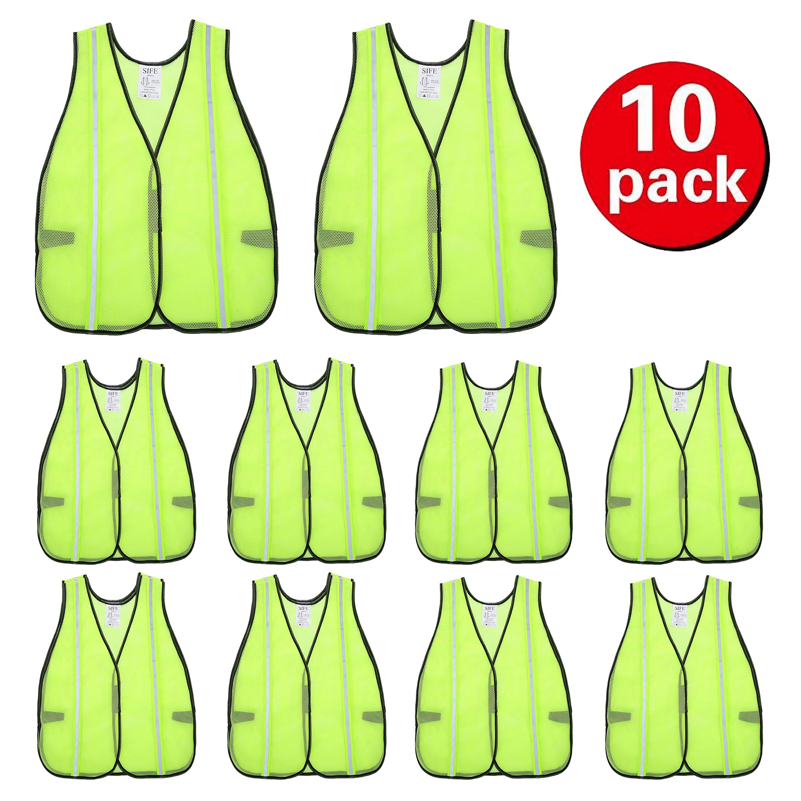 SIFE High Visibility Reflective Safety Vest with 1 Inch Reflective Strips,Made from Breathable and Neon Yellow Mesh Fabric,Universal Size,10 pack