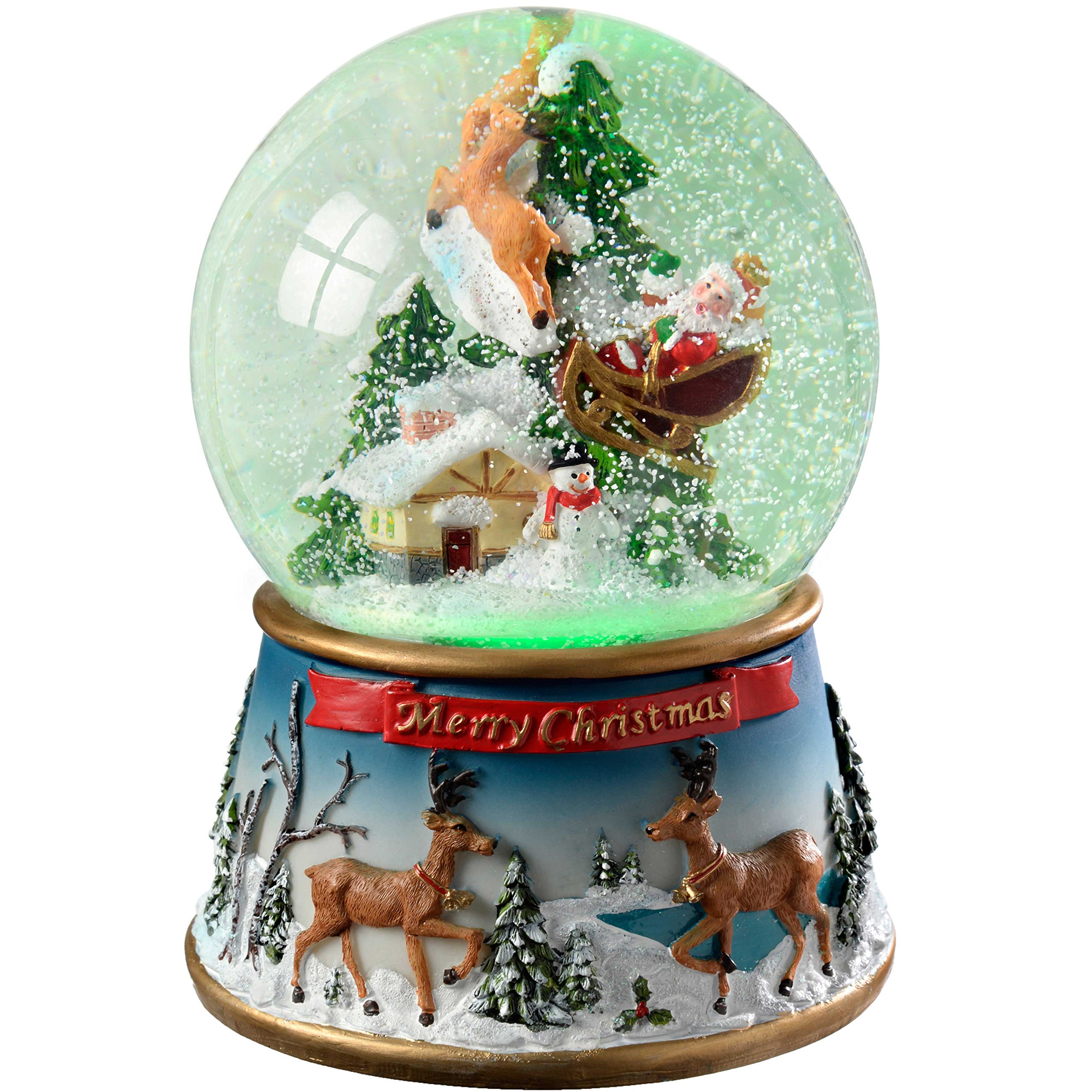 WeRChristmas Santa And Sleigh Colour Changing Snow Globe, 19.5 Cm - Multi-Colour