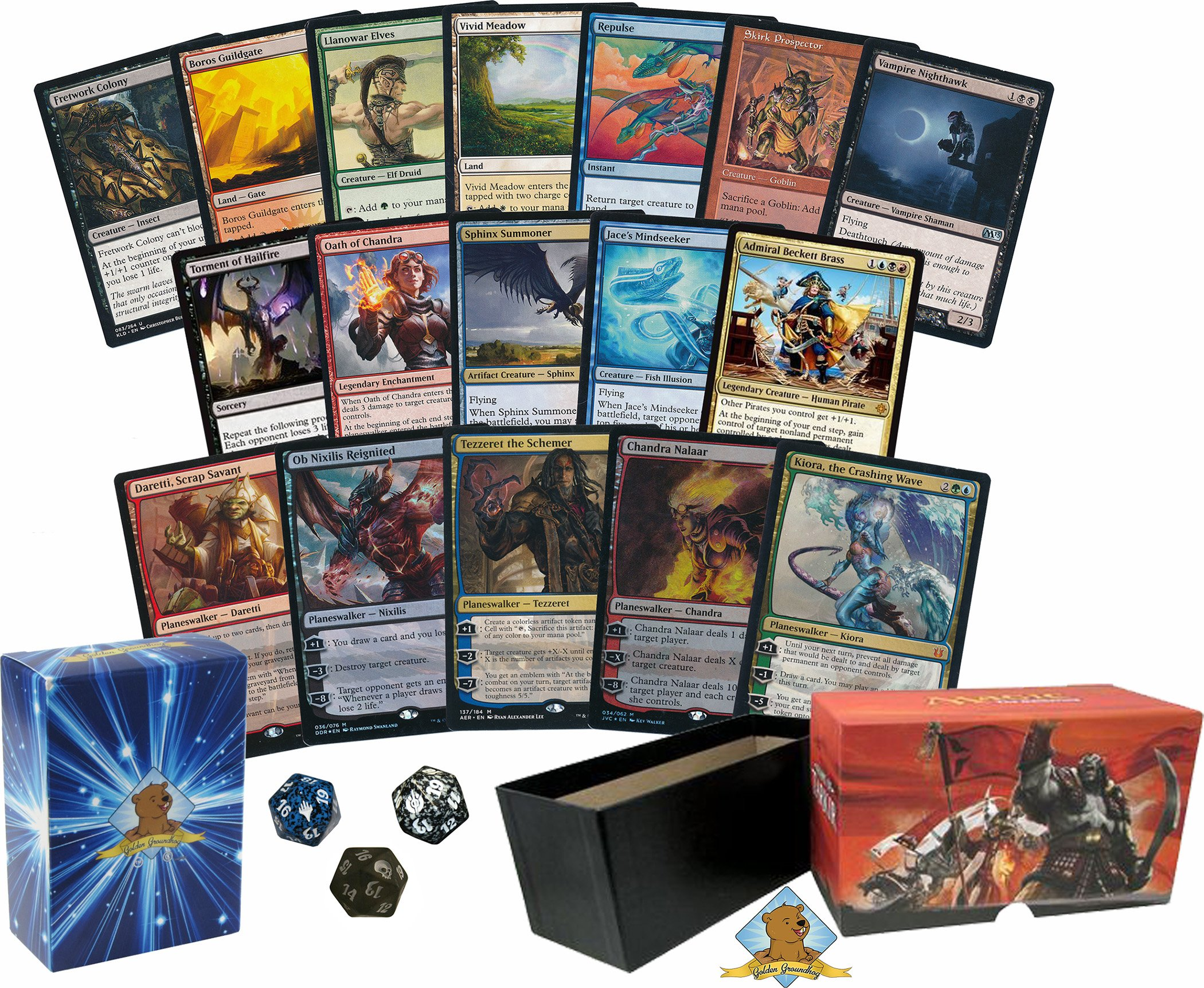 100 Magic The Gathering Cards, With a PLANESWALKER! NO DUPLICATES! Rares & Spindown in Every bundle! Comes with an 80 Pack of Lands! Empty Fat Pack Box and Golden Groundhog Deck Box Included!