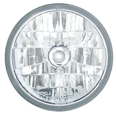 "Adjure T70100 Clear Lens 7"" Diamond Cut Ice Motorcycle Headlight with H4 Bulb: Automotive"