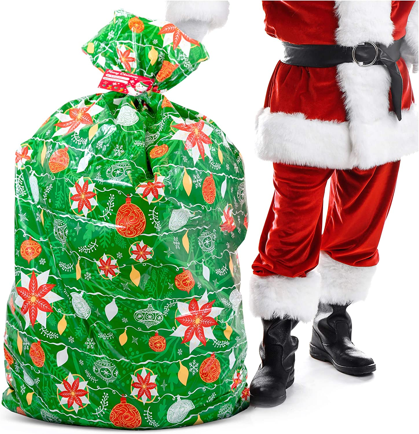 "Christmas Extra Large Gift Bag – Xmas Present Wrapping 56""x36"" Jumbo Large Christmas - Gift Bag Plastic Giant Gift Bags for Huge Gifts - Heavy Duty Big Gift Sack Set with Tag & String Tie"