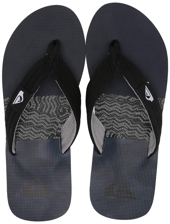 Quiksilver NEW Men/'s Molokai Layback Flip Flops Black Black Grey BNWT