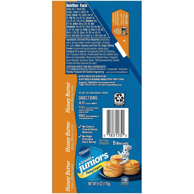 Pillsbury Grands Junior Refrigerated Biscuits Golden Layers Honey