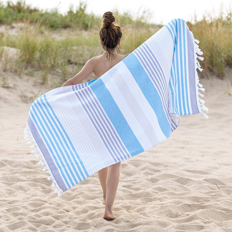 SUPERIOR Meera Stripe Oversized Beach Towel, 35x68, Sky Blue