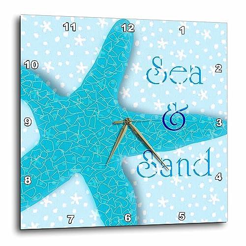 3dRose DPP_60891_1 Aqua Sea and Sand Starfish Beach Themed Ocean Art Wall Clock, 10 by 10-Inch