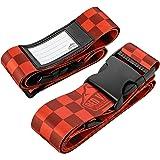 2er-Pack Premium Koffergurt 5x200cm mit Schnalle und Namensschild - hochwertige lange Koffergurte von Red Valley Backpacks (2x Rot)