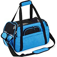 Kaka mall Pet Carrier Waterproof Fabric Padded Soft Sided Airline Approved Portable Collapsible Mesh Breathable for Medium Dogs Cats Travel Bag Can be Connected with Car Seat Belts (Blue, Large)