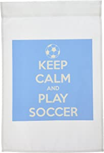 3dRose fl_159643_1 Keep Clam and Play Soccer Blue Soccer Lovers Garden Flag, 12 by 18-Inch
