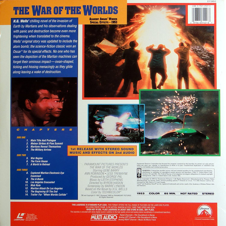 Amazon.com: War of the Worlds [Laserdisc]: Gene Barry, Ann Robinson, Byron  Haskin: Movies & TV