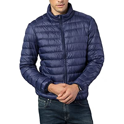 Zimaes-Men Thicken Cotton Solid-Colored Short Stand Collar Down Jackets