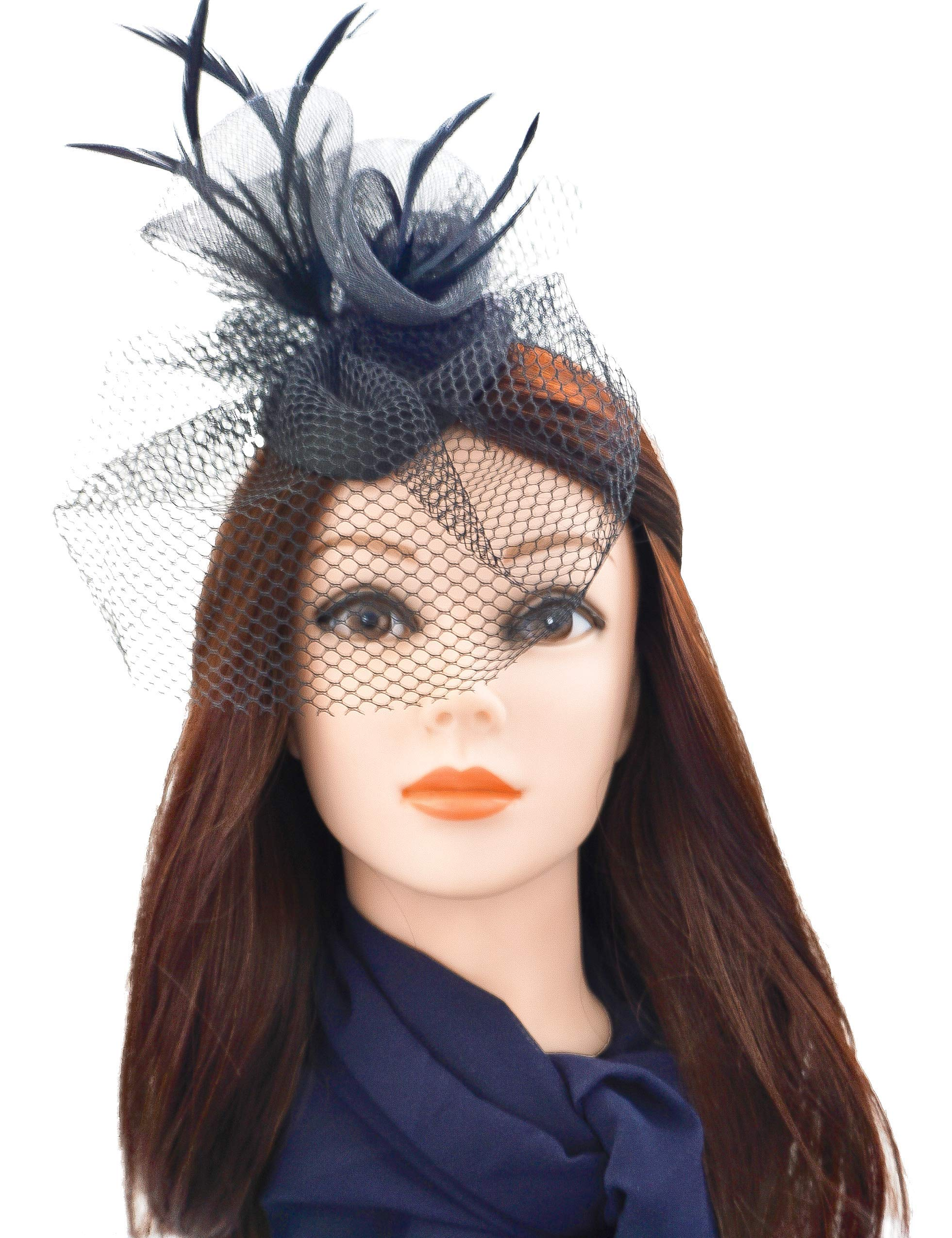 Z&Co Black Fascinator Hat for Women Tea Party, Kentucky Derby Wedding with Mesh Feathers Hair Clip & Headband (Black)