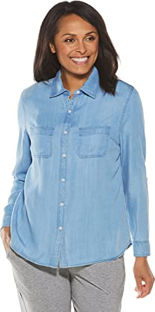 4b39a7c5c515 Coolibar UPF 50+ Women s Peninsula Chambray Shirt - Sun Protective (X-Small-
