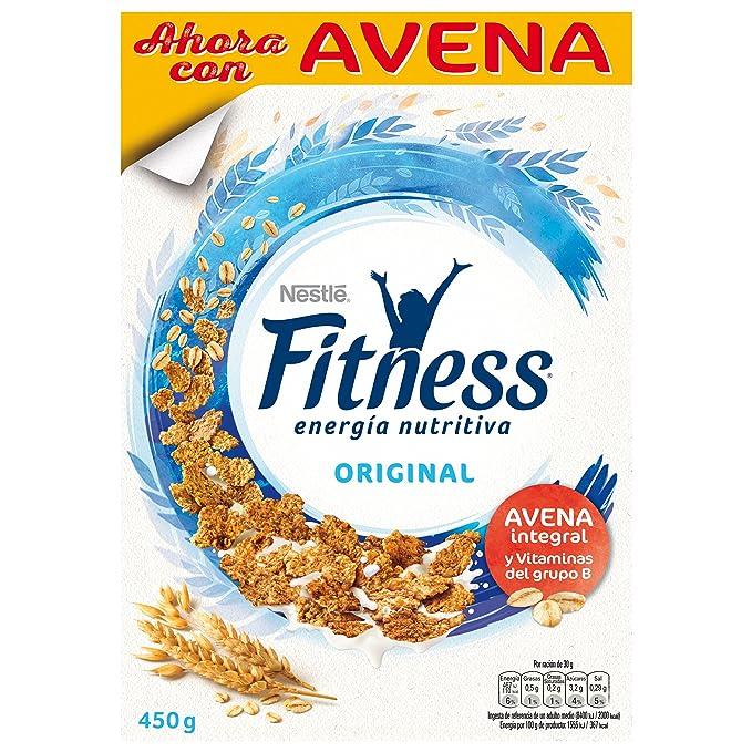 Fitness Cereales Copos de Trigo Integral, Arroz y Avena Integral Tostados - 450 gr