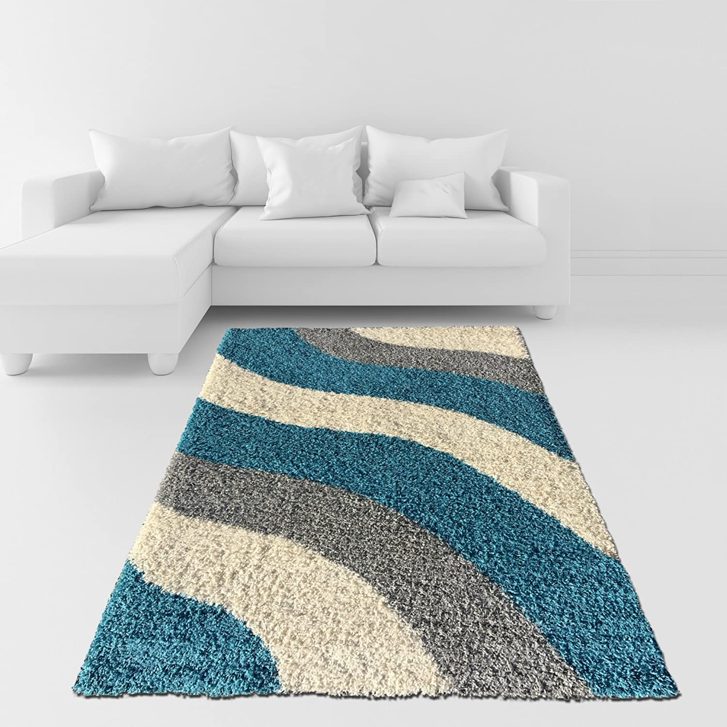 soft shag area rug 5x7 geometric striped turquoise