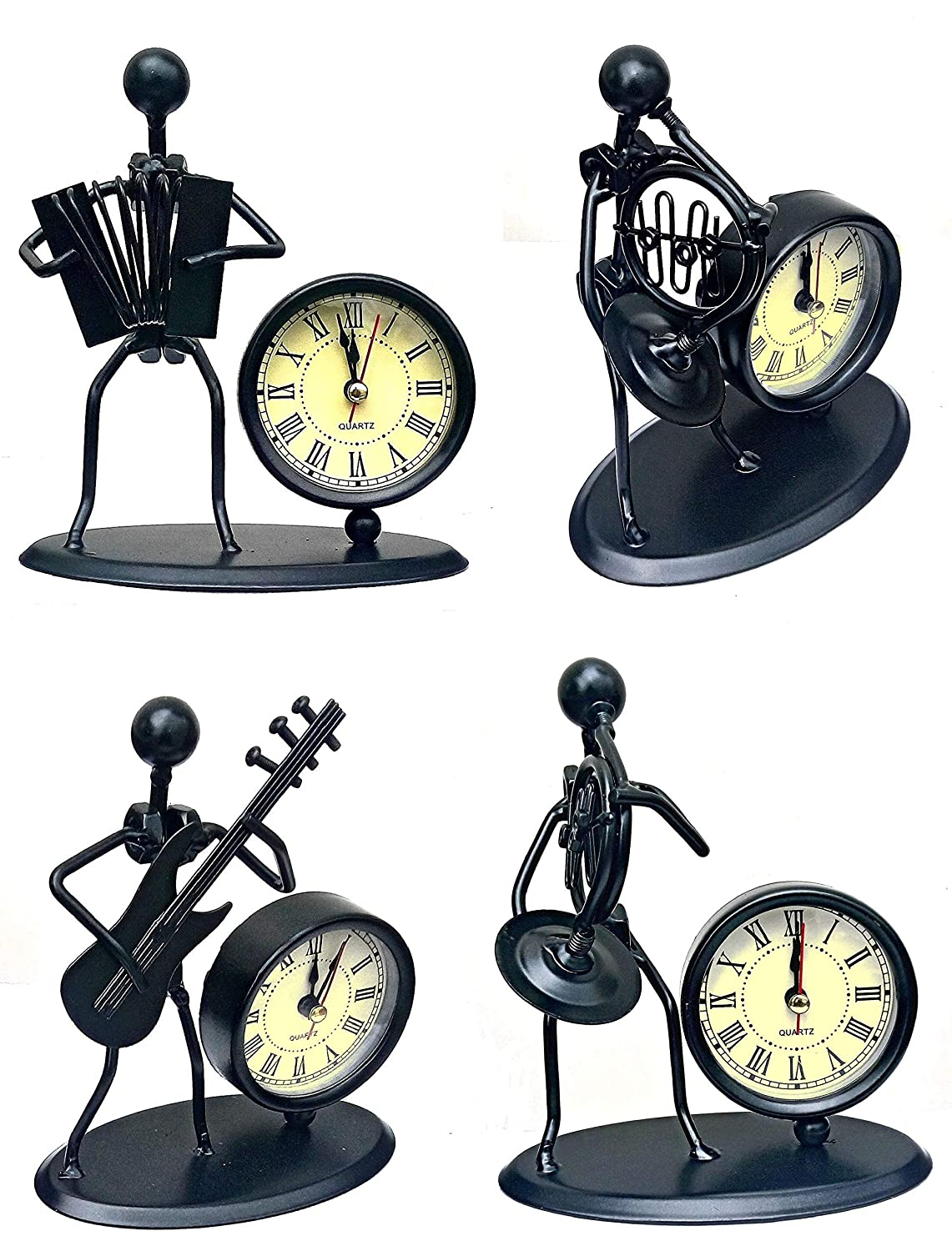 Mohangifts Scrap Metal Art Table Clock With Metal Musician Figurine 5 Amazon In Home Kitchen