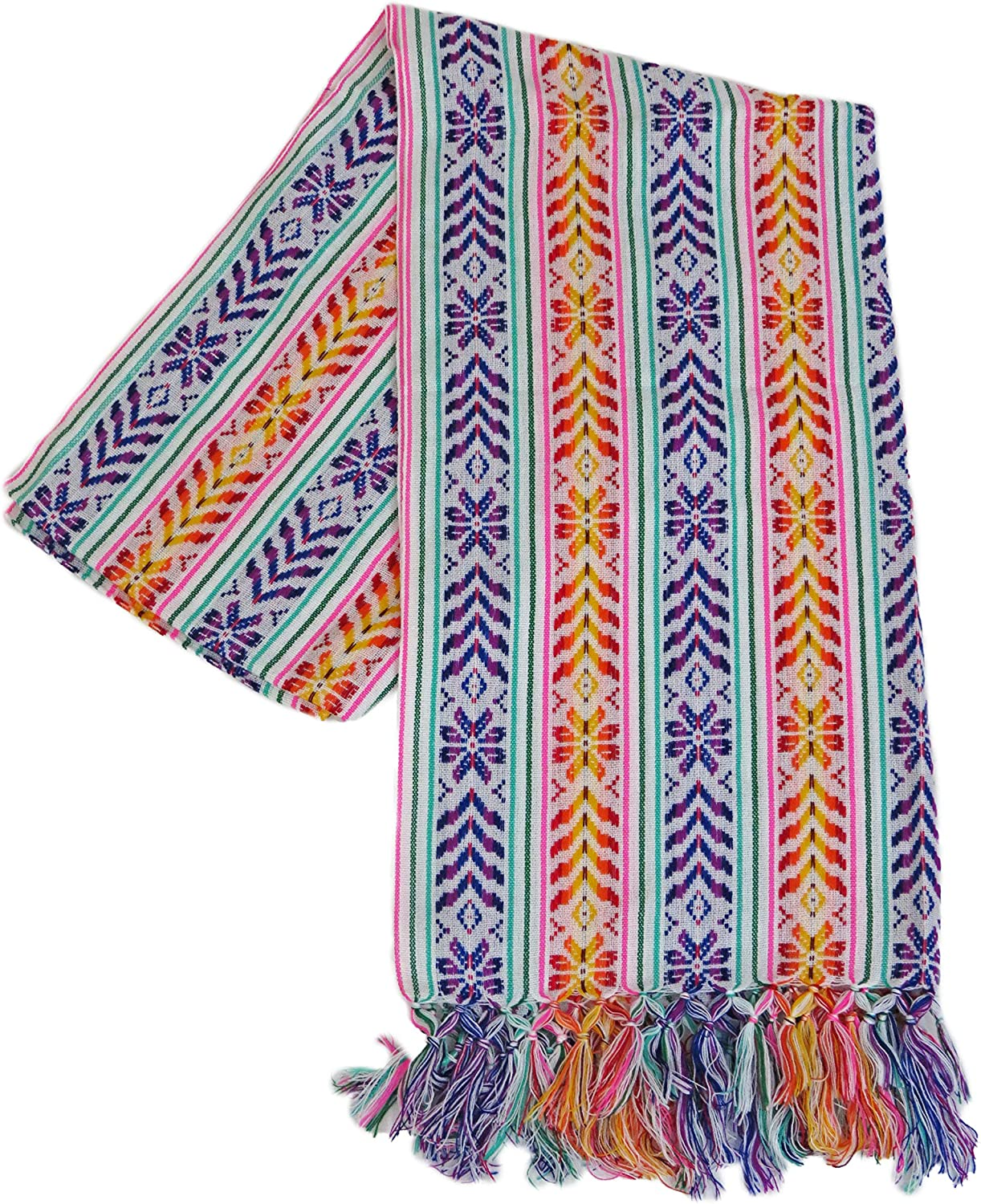 XL 9 ft Long Doula Mexican Rebozo Shawl (Doula White w/Design) at  Women's Clothing store
