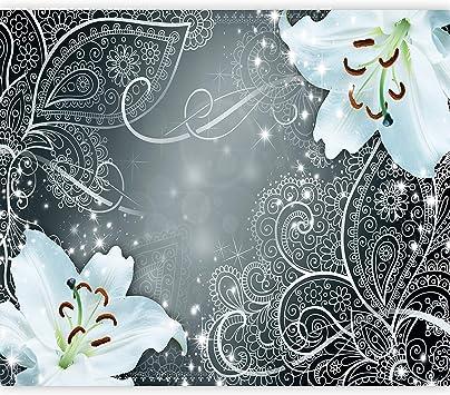 Vlies Fototapete Blume Lilien Ornament Tapete Wandbild xxl 3 Farben b-A-0522-a-b