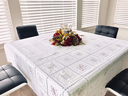 Amazon com: Jo-Ann Square Floral Vinyl Table Cloth and