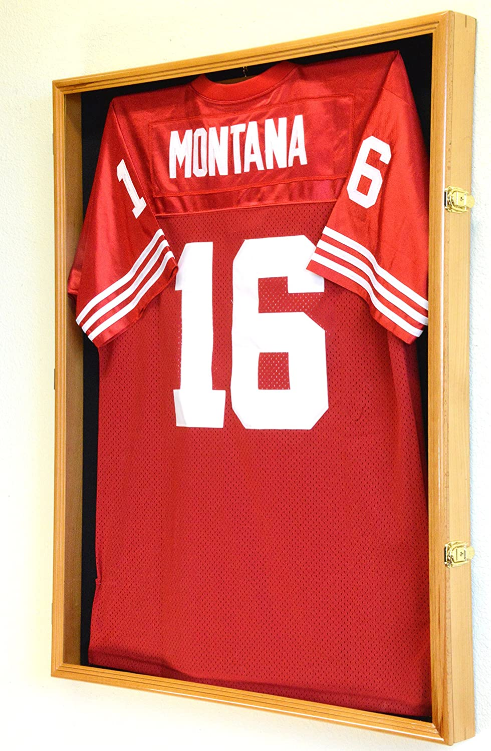 XL Football Jersey Frame Display Case Cabinet Shadow Box w/98% UV Protection -Oak Finished