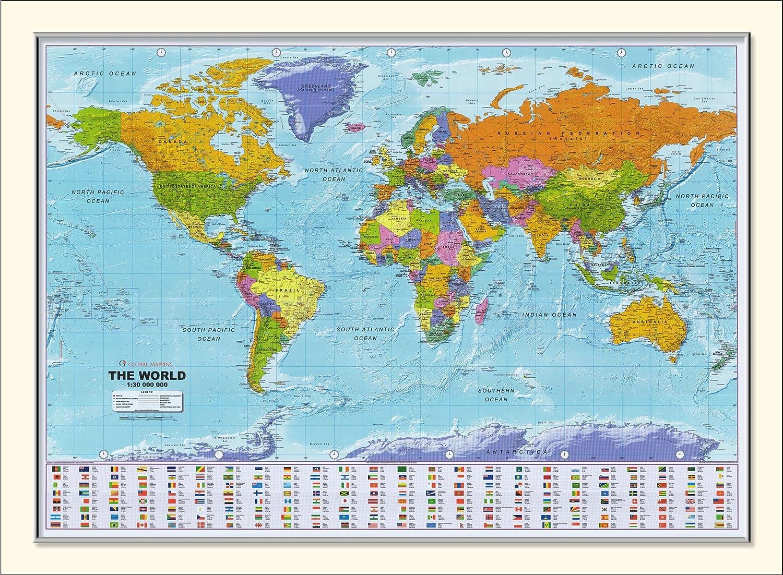 Large Framed World Map 54 X 38 Amazon Co Uk Kitchen Home