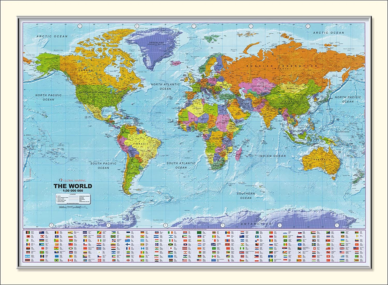 World Map World Map Framed Poster: Amazon.co.uk: Kitchen & Home