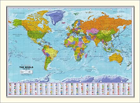 Large framed world map 54 x 38 amazon kitchen home large framed world map 54quot gumiabroncs Image collections