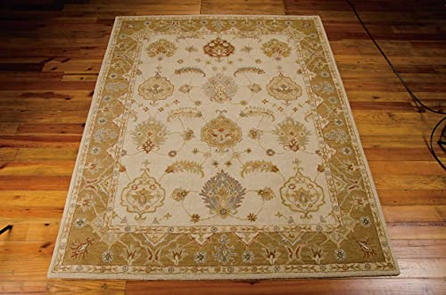 Nourison India House Ivory Gold Rectangle Area Rug, 5-Feet by 8-Feet 5 x 8