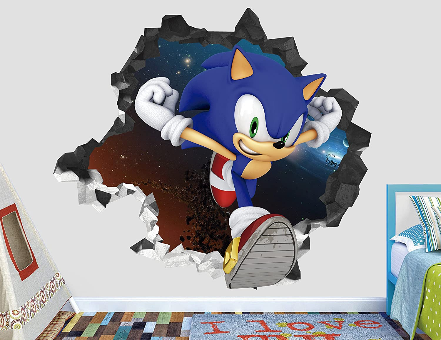 Sonic Force Adventure Wall Decal Sticker - Kids Wall Decal Decor - Art 3D Vinyl Wall Decal - AH121 (Small (Wide 22