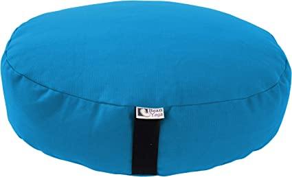 Certified Organic Cotton Waterglider International Zafu Yoga Meditation Pillow with USA Buckwheat Hull Fill 6 Colors