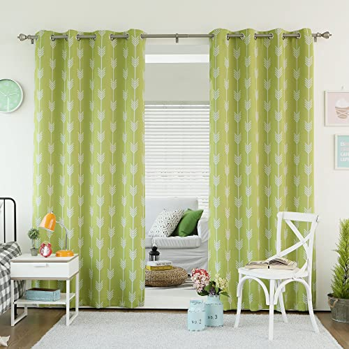 Best Home Fashion Green Tea Arrow Room Darkening Blackout Grommet Top Curtain 84 L – Set of 2 Panels