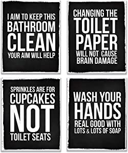 Funny Bathroom Quotes & Home Wall Art Sayings Prints 4-Set Photos Pictures UNFRAMED Distressed Decor Gift Rules Posters Chalkboard Typography Toilet Humor Decoration House (8 x 10 Black and White)