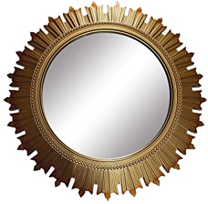 SANWISH® Designer Wall Decor Mirrors for Living Hall Dinning Room Bed Room and Bath Rooms Size 43X43 CMS (Gold Colour)