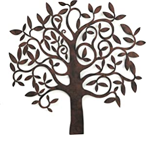 WHW Whole House Worlds Tree of Life, Wall Art, Primitive Style, Artisan Crafted, Rustic Patina, Iron, Over 2 Ft (28 x 26.75 Inches)