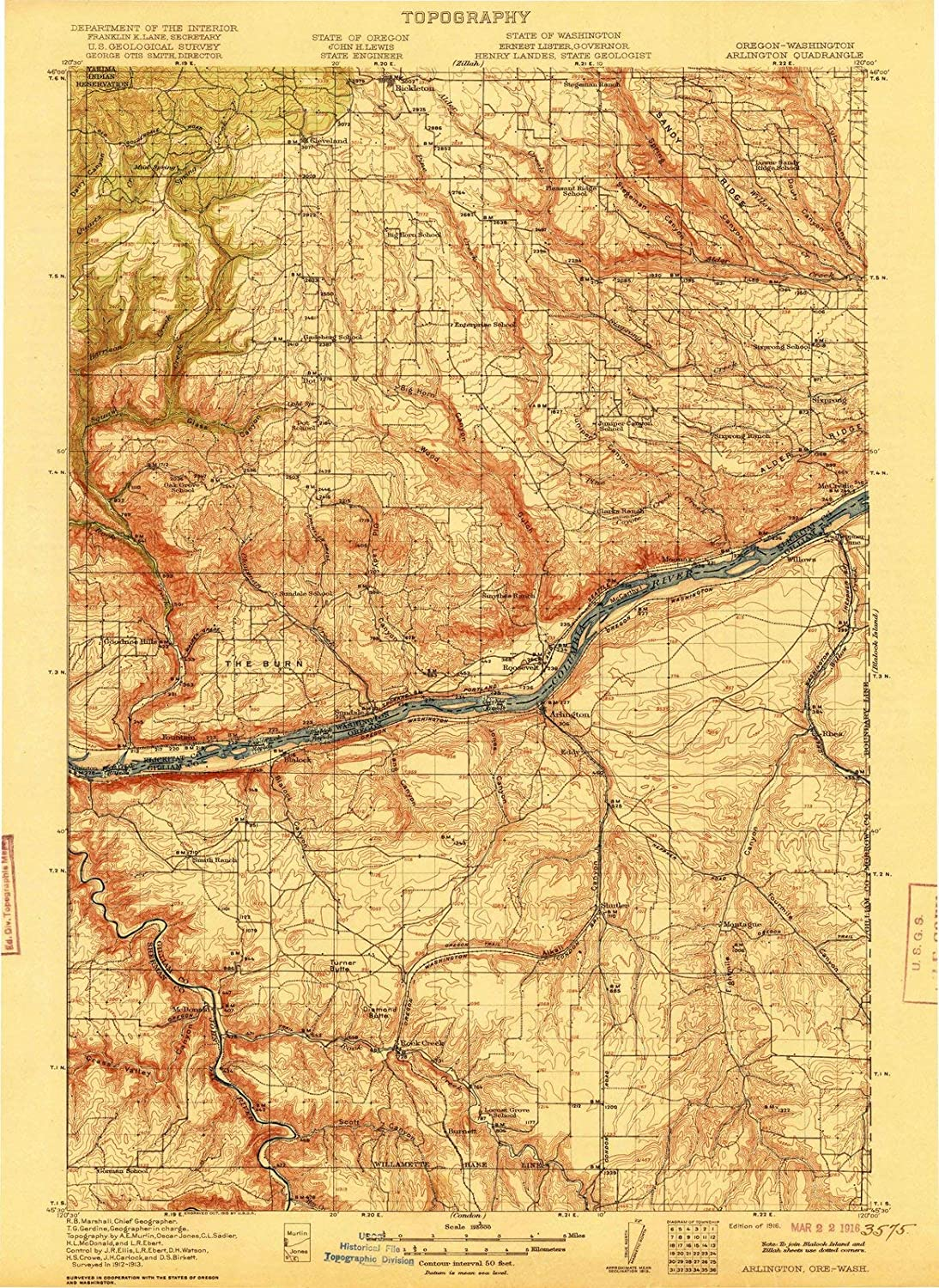 Amazon Com Oregon Maps 1916 Arlington Or Usgs Historical