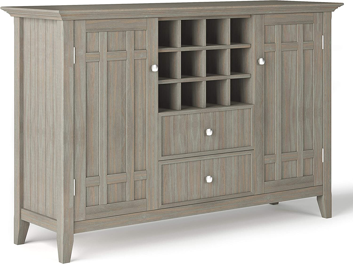 Simpli Home Bedford Solid Wood 54 inch Wide Rustic Sideboard Buffet Credenza and Winerack in Dark Tobacco Brown