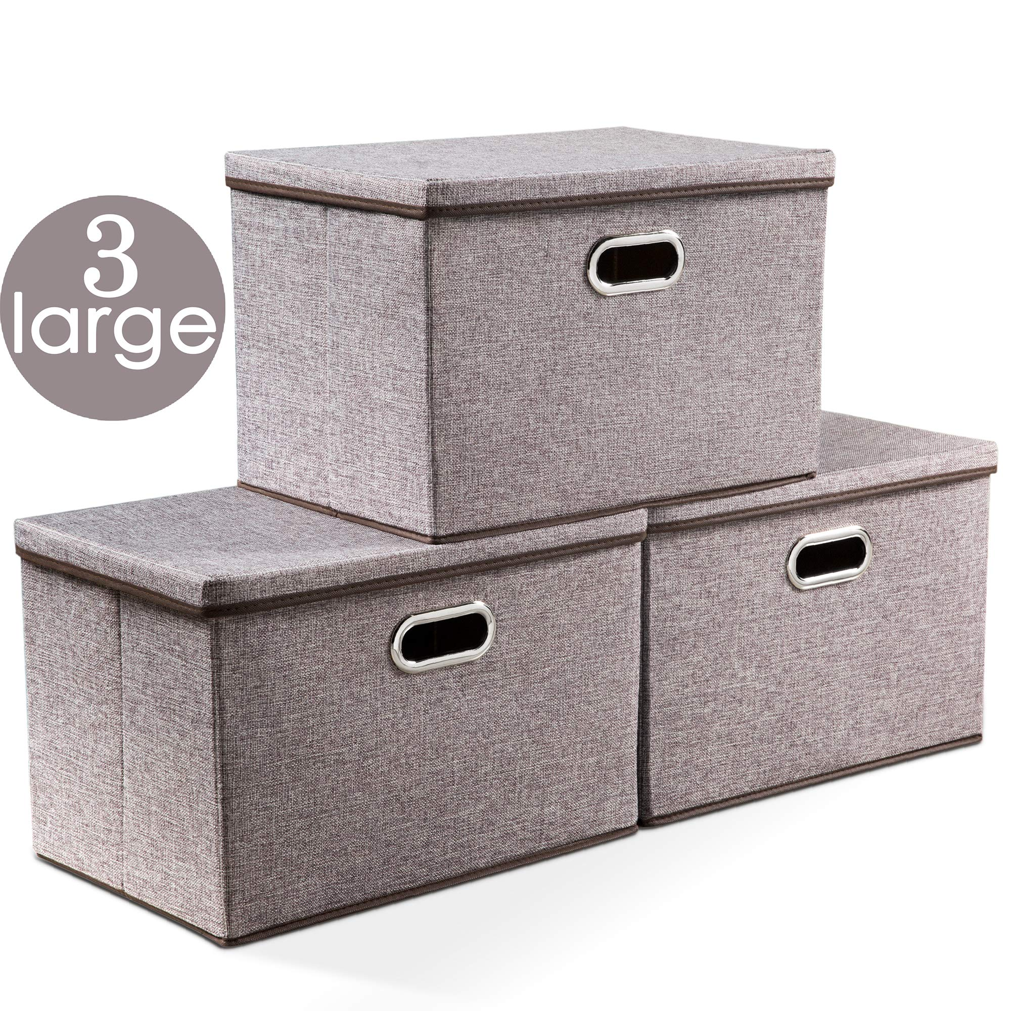Prandom Large Collapsible Storage Bins with Lids [3-Pack] Linen Fabric Foldable Storage Boxes Organizer Containers Baskets Cube with Cover for Home Bedroom Closet Office Nursery (17.7x11.8x11.8) by Prandom