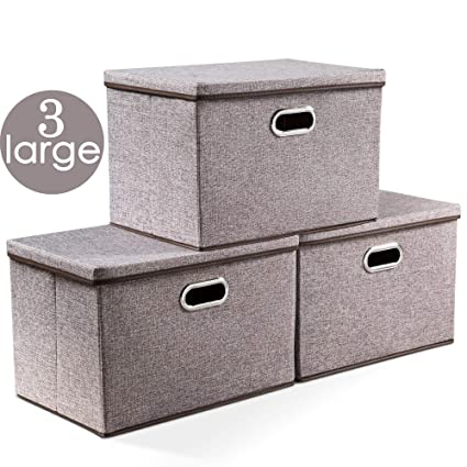 3-Pack Baby Products EZOWare Large Linen Fabric Foldable Storage Cubes Bin Box Containers with Lid and Handles for Nursery Large Storage Boxes Closet Kids Room Toys Gray