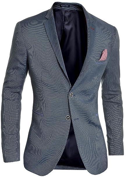 D R Fashion Blazer Uomo Blu Navy Casuale attività Commerciale Finitura  Rossa Slim Fit Giacca di Vestito 46b04bd3905